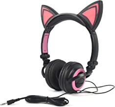 Headphone Cat Ear Headset, Foldable LED Light Cosplay Flash Earphone for Teens Girls Boys,Compatible for iPad,Tablet,Computer,iPhone,Android Mobile Phone (Black&Pink)