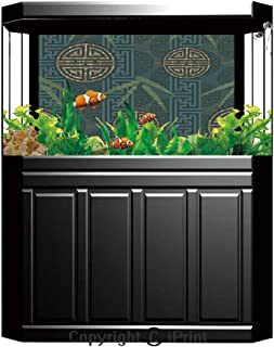 Aquarium Fish Tank Background,Bamboo House Decor,Illustration of Chinese Symbols for Tranquility Harmony Peace with Bamboo Pattern,Black White,Decor Paper Green Water Grass Aquatic Style Like Real,W24