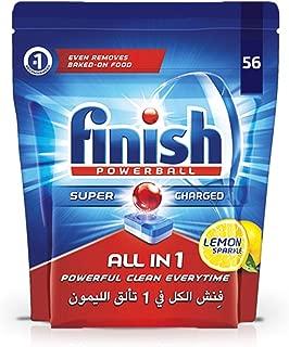 Finish Dishwasher Detergent All in One Tablets Lemon, 56 Tablets
