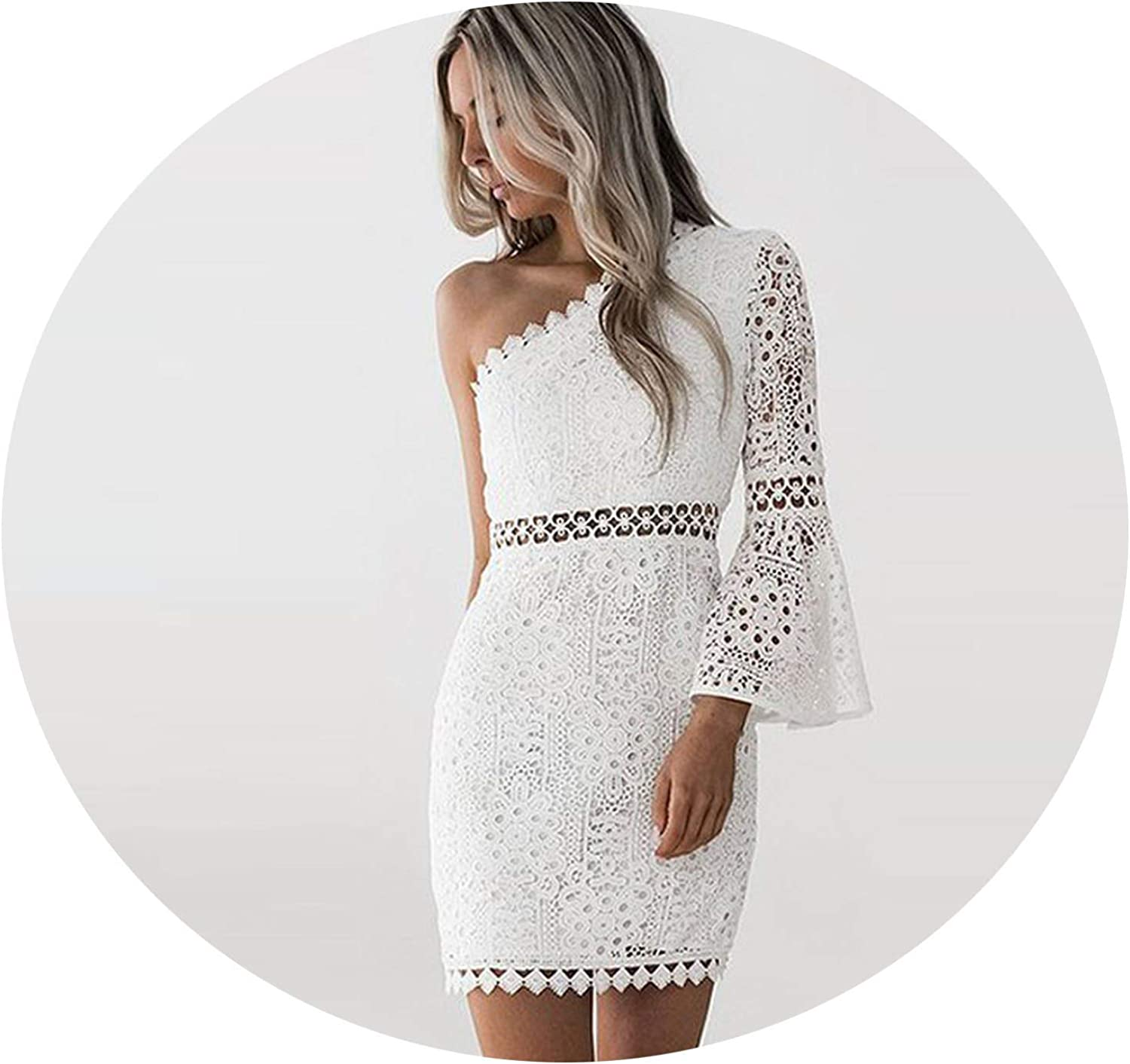 Just Have Fun Summer Women Sexy White Floral Lace Dress Slim One Shoulder Long Flare Sleeve Hollow Sweet Party Dress