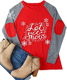 تي شيرت نسائي للكريسماس Let It Snow Elbow Patch Baseball T-Shirt Xmas Snowflake Print Long Raglan Sleeve Splicing Tops Tees