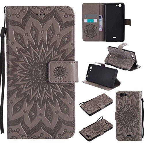 Guran® PU Leder Tasche Etui für Wiko Pulp Fab 4G LTE (5,5 Zoll) Smartphone Flip Cover Stand Hülle & Karte Slot Hülle-grau