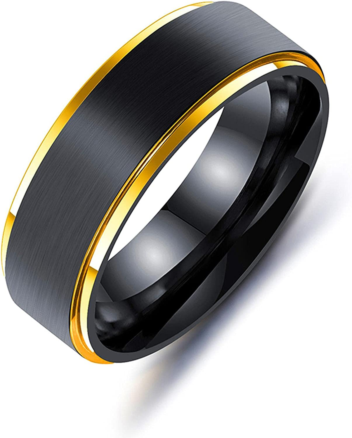 8mm Rainbow Colorful New sales Tungsten Carbide Ring Ranking TOP4 Black Brushed Wedding