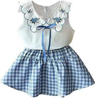 Lankey - Conjunto de Ropa para bebé, Ropa de Verano para niñas, Chaleco con Estampado de Flores + Pantalones de Color Puro para niños