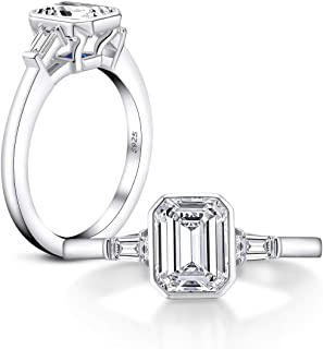 1.5 ct Emerald Cut Baguette 3 Stones Platinum Plated Sterling Silver Cubic Zirconia CZ Promise Engagement Ring