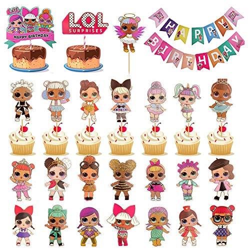 LOL Topper de Tarta de Cumpleaños,Decoración de la Tarta de Cumpleaños de LOL con una Pancarta de Feliz Cumpleaños de la Torta de Dibujos Animados Kids Girls Birthday Party Supplies