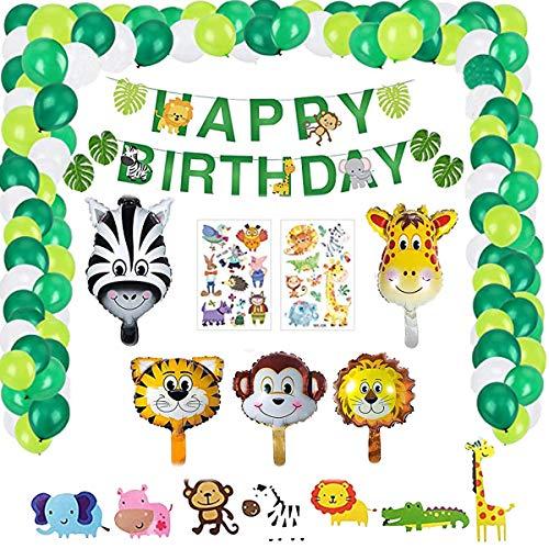 Vohoney Decoración de cumpleaños, decoración para fiestas de cumpleaños, juego de decoración de cumpleaños, color negro, decoración de cumpleaños (verde jungla)