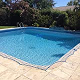 WaterWarden Inground Pool Net, 12' x 24', Blue – DIY System, for Kid Safety, Made of Durable UV Polyethylene Material, Water Resistant Reel Included, WWN1224, 12'x24'