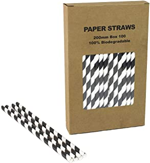 Black Striped Paper Straws - Box of 100-7.75 inches, Biodegradable Paper Sticks for Party DIY, Birthday, Halloween etc.