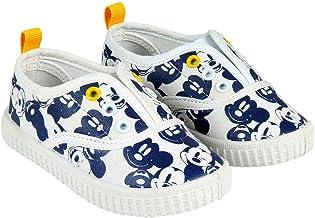 Zapatillas de Lona Niño Mickey Mouse Disney Sin Cordones, Blancos y Azules (Tallas 22 a 27)
