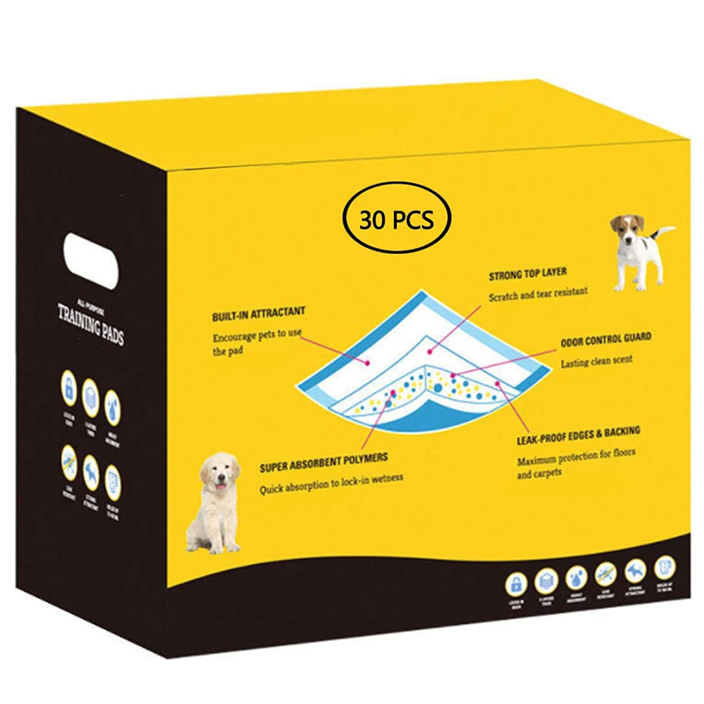 Pet Training and Puppy Pads with Lemon Scent, Splash Proof, Fast Absorption for Pet Mats
