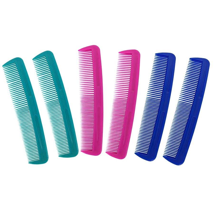 人生を作る彫る味方6pcsプラスチックミニポケットの櫛サロンとホテルのヘアケアツール(2 *グリーン+2 *ブルー+2 *ロージー)のためのデュアル目的静電気ヘアコンボ