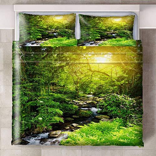 GJKIEB Juego de Funda Nórdica de Impresa Microfibra Muy Suave y Transpirable hipoalergénico de fácil Cuidado Agua de río pequeño de Selva Verde Fundadeedredón Tamaño: 260x240cm + 2x50x75cm