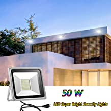Younar LED Flood Light, 50W Super Bright Security Lights Cool White with Plug, Waterproof Outdoor or Indoor Floodlight for Yard, Garden, Playground, Basketball Court