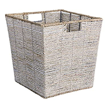 DII Decorative Woven Seagrass Trapezoid Cube with Metallic for Bathroom & Home Organization Solutions to Enhance Décor & Add Functionality (Large Cube - 13x13x13  with 11  base) Silver