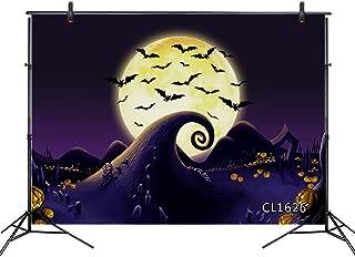 LB Halloween Nightmare Backdrop 9x6ft Fabric Pumpkin Graveyard Tombstone Moon Black Bat Photo Backdrops for Photoshoot Halloween Party Cake Table Banner Photo Booth Backdrop