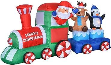 7 Foot Long Lighted Christmas Inflatable Santa Claus Reindeer Penguin on Train Indoor Outdoor Garden Yard Party Prop Decoration
