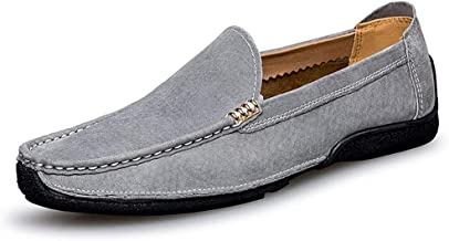 Soft Daily Easeful Suede Loafers for Men Slip on Flat Moccasins Stiching Detail Genuine Leather Face Metal Buckle Decor Drive Shoes Wide Casual