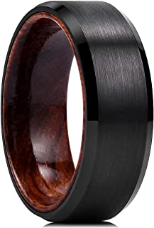 King Will Nature Mens 8mm Black Tungsten Carbide Wedding Ring Inlay Real Wood Brushed Center Flat/Beveled Style