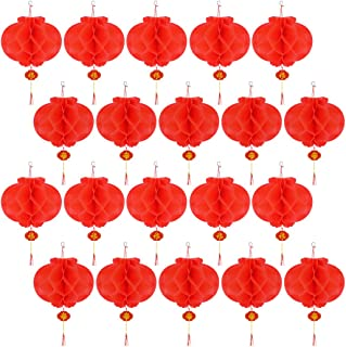 40pcs,10in Red Paper Lanterns Chinese New Year Red Lanterns Festival Decorations for Spring Festival,Wedding,New Year by Lee-buty