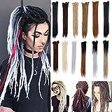 24' 100% Handmade Dreadlocks Extensions Fashion Reggae Hair Soft Faux Locs Crochet Mambo Twist Braiding Hair Ombre Color For Women/Men(30 Strands, Black + Dark Grey + Silver Grey)