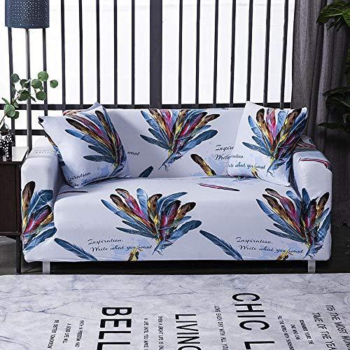 ARTEZXX Funda sofá Patrón De Impresión Todo Incluido Funda de sofá Tejido poliéster y Elastano elástica Cubiertas de sofá 1/2/3/4 plazas Plumas Blancas y de Colores 3 plazas: 190-230 cm