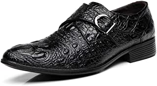 Bin Zhang Business Dress Oxfords for Men Crocodile Embossed Large Size Leisure Shoes Slip on Faux Leather Pointed Toe Metal Buckle Block Heel (Color : Black, Size : 7 UK)