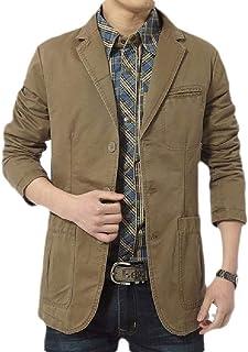 FSSE Men's Business Casual Cotton Suit Coat Plain Dress Blazer Jacket Suit Coat