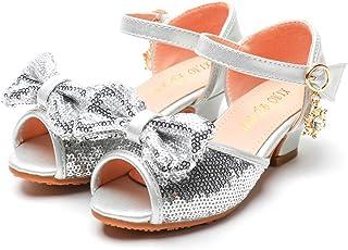 DolceTiger Sandales Ceremonie Fille, Enfants Filles Poisson Bouche Creux Perle Paillettes Strass Arc Princesse Chaussures ...