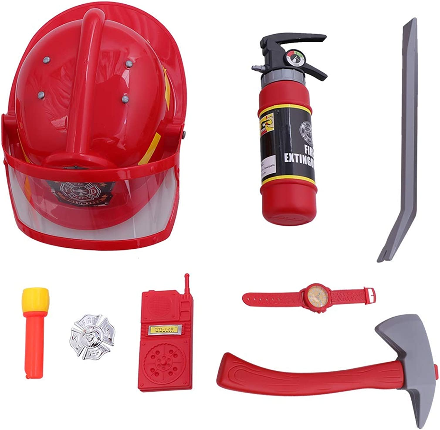 Flyme 9pcs Fireman Gear Firefighter Costume Role Play Toy Set for Kids with Helmet and Accessories