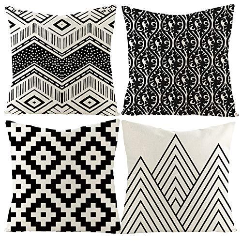 Juego de 4 Cojines Decorativos de Algodón y Lino con Cremallera Invisible, Blanco y Negro Geometría, para Cojines de Sofá, para Salón, Silla, Sofá