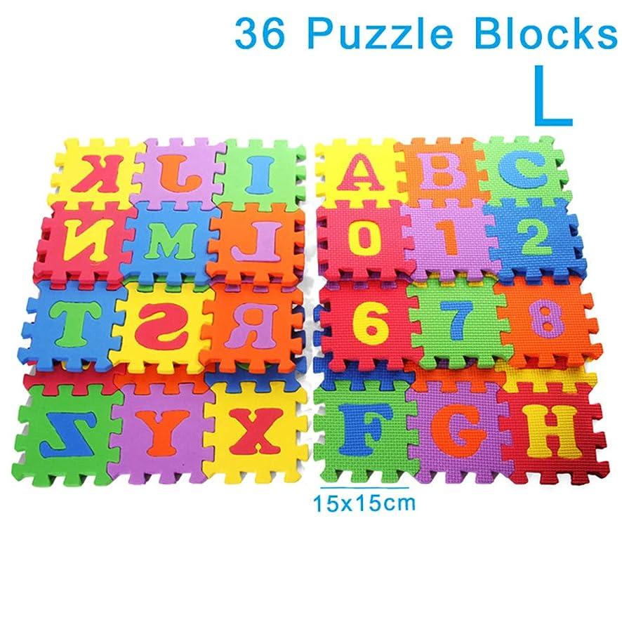 計算珍味アーティキュレーションLambowo 36個赤ちゃんアルファベット番号教育パズル泡マットブロックおもちゃクロールマット
