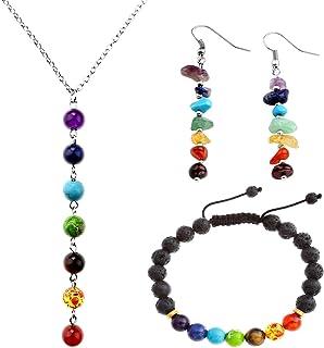 Jovivi - parure di gioielli con le 7 pietre dei Chakra: 1 bracciale estensibile + 1 collana + 2 orecchini in stile tibetan...