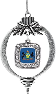 Best Inspired Silver - Pennsylvania Flag Charm Ornament - Silver Square Charm Holiday Ornaments with Cubic Zirconia Jewelry Review