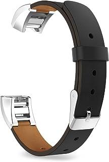 Xberstar Fitbit Alta HR/Fitbit Alta バンド ベルト 交換ベルト 革製 クイックリリース式 4色あり (黒)