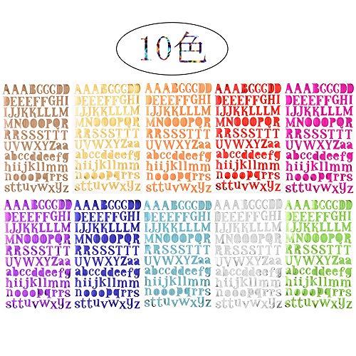 10シート アルファベット ステッカー セット 輝き 自己粘着性 ステッカー デカール 教育玩具 日記プランテーブルDIY付箋紙携帯電話アルバム装飾文字ステッカー