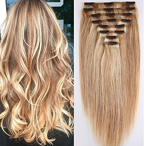Clip in Extensions Set 100% Remy Echthaar 8 Teilig Haarverlängerung dick Dopplet Tressen Clip-In Hair Extension (55cm-160g,#18/613 Light Aschblond/Weißblond)