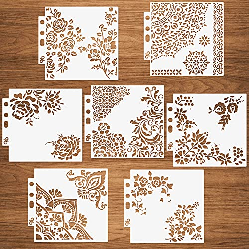7 Packs Mixed Media Quarter Mandala Stencils Set - Reusable Mandala Floral Mylar Template for Wood Signs Pillows Wall Scrapbook Card Making DIY Craft Stencil - 5.1x5.5'