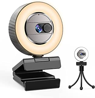 2021 CASECUBE 2K Ultra HD Webcam with Microphone and Ring Light, Webcam Cover Slide, Plug and Play Web Camera, 3-Level Bri...