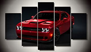 JiazuGo Red Dodge Challenger Hellcat Muscle Classic Racing Sport Super Rally Car Supercar Canvas Prints Picture Painting Framed Ready to Hang (5 Panels/Set)