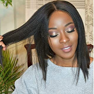 Ms.Caasie Italian Yaki Short Bob Human Hair Wig Pre Plucked 13X6 Deep Parting Lace Front Wig with Baby Hair Bleached Knots Brazilian Remy Hair Light Yaki Wig 130% Density Natural Color 10 Inch