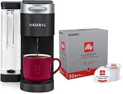 Keurig K-Supreme Coffee Maker, Black + Illy 100% Arabica Bean Signature Italian Blend Roasted Single Serve Drip Brewed Coffee K Cup Pods, Classico Medium Roast, 32Count
