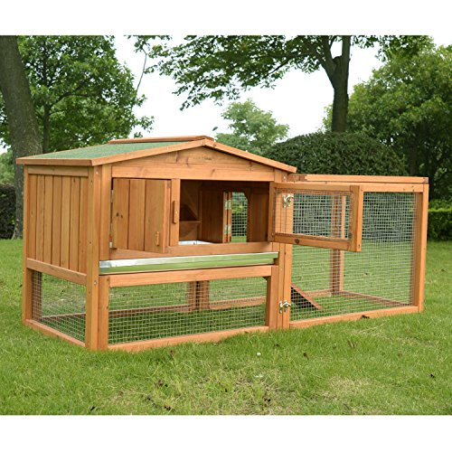 PawHut 62' Outdoor Guinea Pig Pet House/Rabbit Hutch Habitat with Run