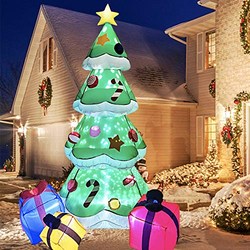 IIDEE 7FT Inflatable Christmas Tree Decorations, Blow Up Yard Decor Outdoor Christmas Decorations Built-in LED Lights with Tethers, Stakes for Outdoor, Yard, Garden, Lawn Decorations