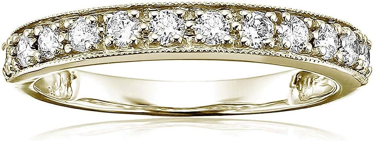 Vir Jewels 1/2 cttw Diamond Wedding Band with Milgrain 14K Yellow Gold Prong Set