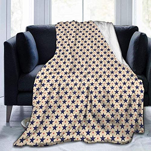 AEMAPE Manta de Microfibra nostálgica Grunge Inspirada en la Bandera Americana patriótica para Todas Las Estaciones Manta cálida para Sala de Estar/Dormitorio/sofá
