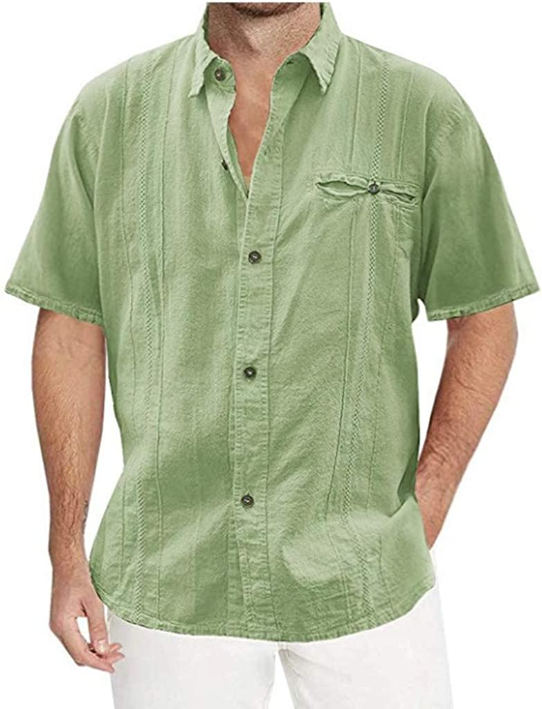 iHPH7 Mens Short Sleeve/Long Sleeve Casual Loose Fit Solid Comfort Button Down Guayabera Shirts