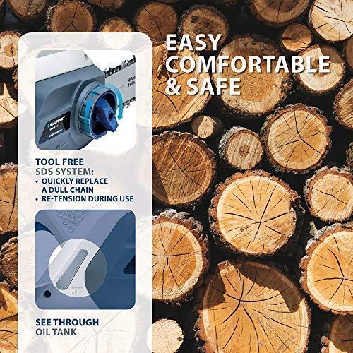 Blaupunkt CS3000 Tronçonneuse électrique Puissance 2200 W Guide de 40 cm Frein à chaîne automatique Léger 6 kg Système SDS Chaîne Oregon