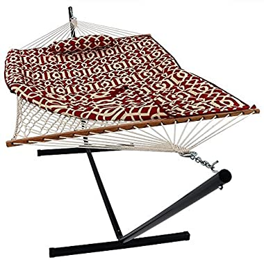 Sunnydaze Cotton Rope Hammock 12 Foot Portable Steel Stand Spreader Bar, Indoor Outdoor Use, Pad Pillow Included, Royal Red
