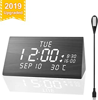 MEKO Upgraded Digital Alarm Clocks for Bedrooms,3 Levels Brightness, Dual Alarms, 3 Levels Volume with Snooze and Nightlight Wooden Electric LED Besides Clock
